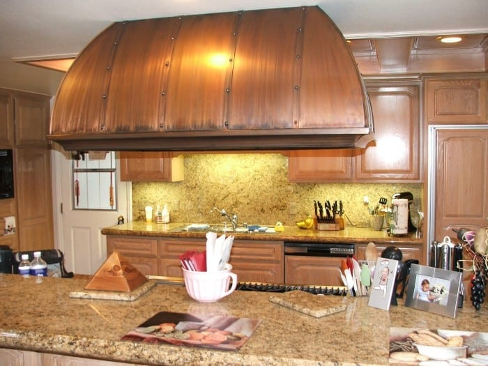 Kitchen cabinets and range hood
