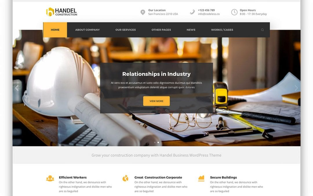 Construction website templates for contractor websites